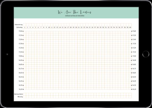 Zyklusblatt-Vorlage, auf der Du selbst auswerten kannst als PDF-Datei